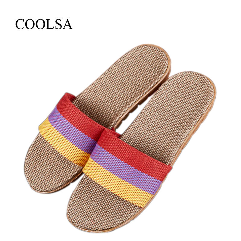 COOLSA Women's Autumn Linen Slippers Non-slip Flat Home Flip Flops Breathable Striped Indoor Floor Slippers Women Flax Slides coolsa women s summer flat cross belt linen slippers breathable indoor slippers women s multi colors non slip beach flip flops