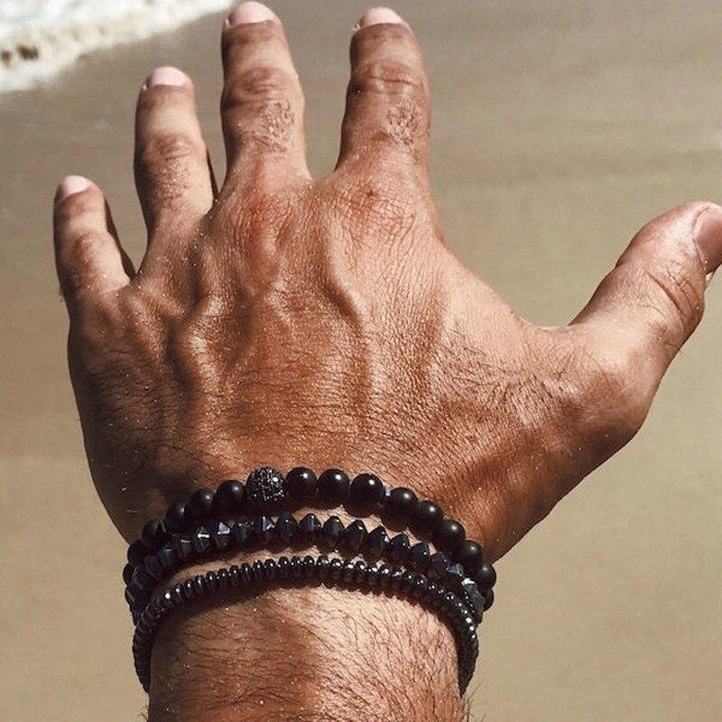 Men Bracelet 3pcs/Lot 2019 New Fashion Pave CZ Charm Ball Bead Bracelets & Bangles For Men Jewelry Pulsera Erkek Bileklik Gift