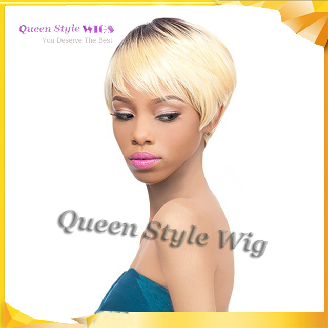Short Mix Color Dark Roots Blonde Wig Outward Outer Quick Weave