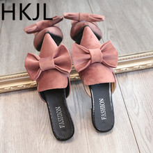 HKJL summer 2018 new Korean fashion pointy baotou slippers ladies sweet bowknot velvet flat bottom cool A257