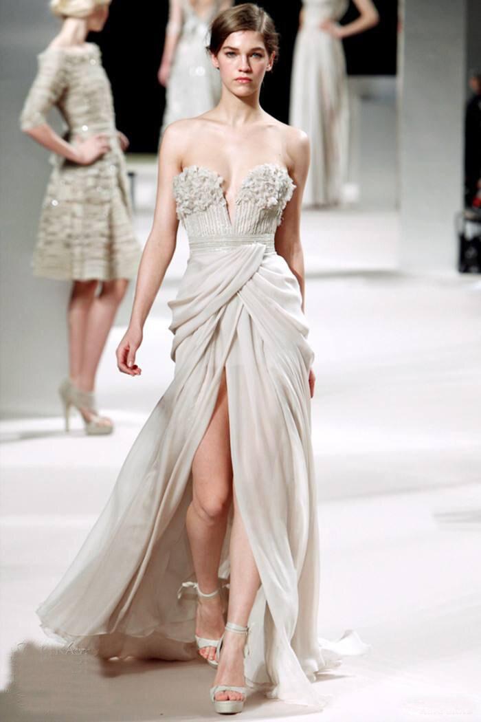 Elie_Saab argent argent robes de soirée chérie étage longueur Court train fait à la main fleur en mousseline de soie robes de célébrité
