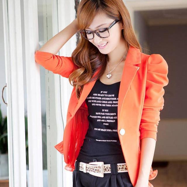 New Fashion Hot women blazers and jackets long-sleeve slim blazer ruffle short blazer design candy color Outerwear & Coats
