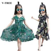 V TREE Girls Dress Chiffon Pattern Dress For Girls Beach Summer Girl Dress Long Section Princess