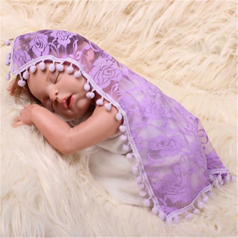 Manta para fotografía recién nacido envolver con borla bebé foto envuelve encaje Rosa recién nacido swaddle baby shoot props 45*45CM gris rosa