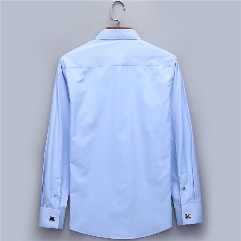 Herrklänning Skjorta Fransk Manschett Blå Vit Långärmad Business - Herrkläder - Foto 4