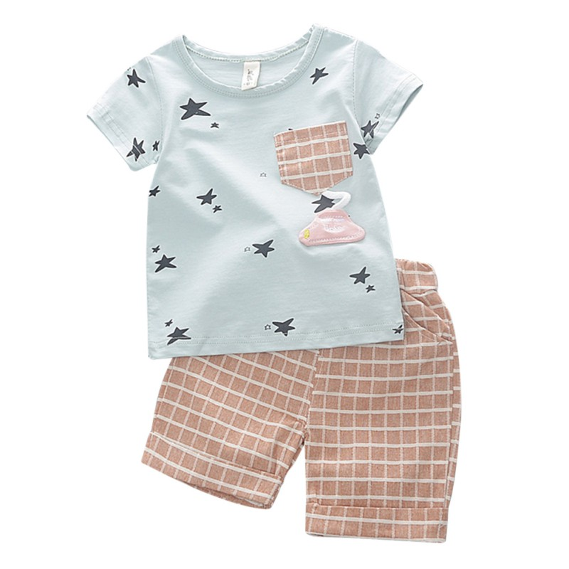Baby Boy Clothes Summer Baby Clothing Set Newborn Boys Infant Cartoon Top+Toddler Pant Outfit Baby Boys Clothes Set