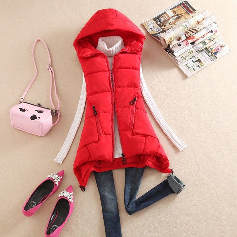 Hot Sale Vadim Vest Women Cotton Vest Womens Winter Hooded Feather Clothing Female Paragraph Camouflage Large Size Jacket