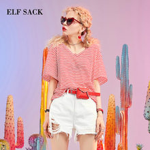 ELFSACK повседневные женские футболки из хлопка, свободные женские футболки с v-образным вырезом, стильные женские топы больших размеров в полоску, женские футболки