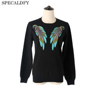 2017 Runway Designer Luxury Autumn Knitted Sweater Women Long Sleeve Birds Beading White Black Sweaters And