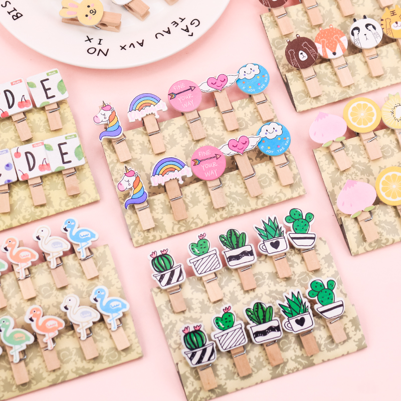 10 Pcs/set Colored Wooden Clip Christmas Decor Cute Cactus Unicorn Memo Paper Clips Stationery Clothespin Craft Clips Pegs(China)