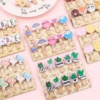10 teile/satz Farbige Holz Clip Weihnachten Decor Nette Kaktus Einhorn Memo Papier Clips Schreibwaren Wäscheklammer Handwerk Clips Pegs