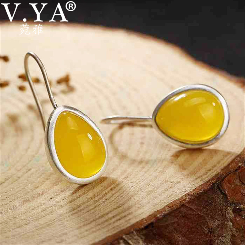 V.YA Natural Chalcedony 990 Sterling Silver Jewelry Earrings Yellow/White Stone Drop Earrings For Women Brincos