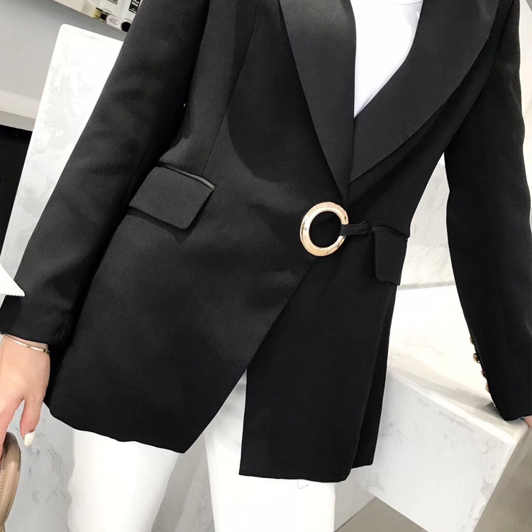 Spring 2019 The New European And American Style Ring Buckle Black Suit OL Commuter Style Professional Black Jacket Suit Women