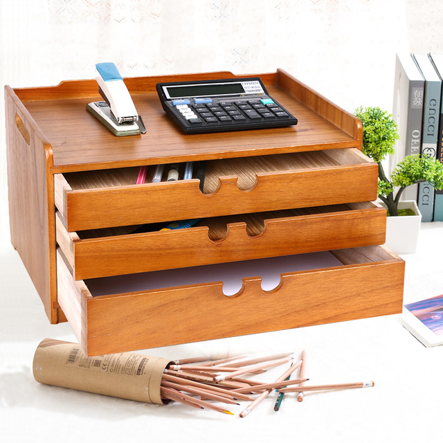 Storage Products Desktop Box Wooden Office Desk Drawer Cabinets Small With Finishing File