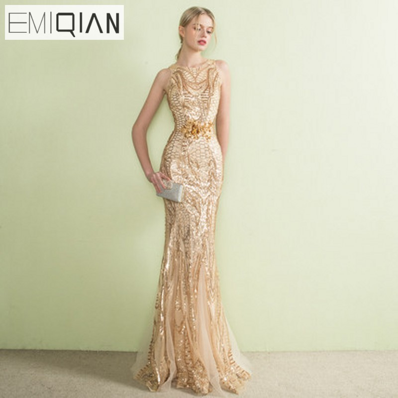 c97687af780 NEW Designer Gold Sequined Lace Mermaid Long Evening Dresses See Though  Back Formal Prom Party Dress