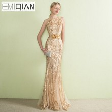 NYHET Designer Gold Sequined Lace Mermaid Långa Aftonklänningar Se Though Back Formell Prom Party Dress Kappa Soiree