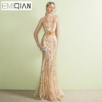 NEW Designer Gold Sequined Lace Mermaid Long Evening Dresses See Though Back Formal Prom Party Dress