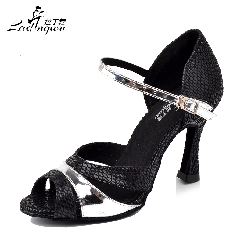 Ladingwu Factory Outlet Black Snake Texture PU Ballroom Dance Competition Shoes Woman Latin Salsa Dance Shoes Size US 4.5-12