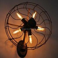 Винтажный настенный вентилятор с лампами Эдисона, настенный светильник, черный и ржавчина, отделка для кафе бар магазин зал, клуб, кофе деко