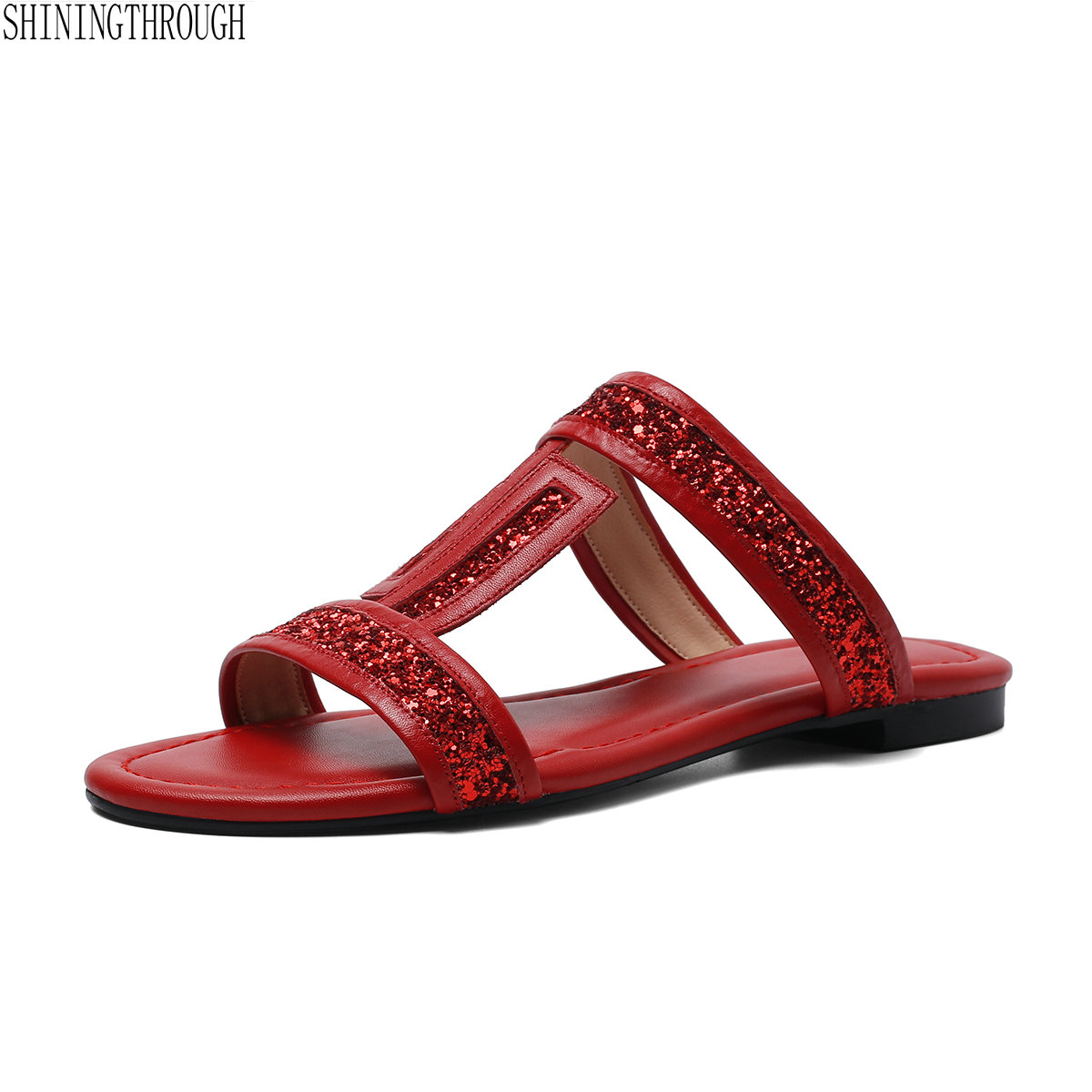 Flat ladies slippers summer shoes woman Genuine Leather Comfort Ladies Shoes white red black T strap