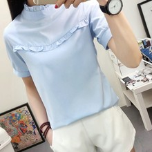 Womens Blouse Office Solid Cute Tops Girls Shirts O-Neck Women Clothes Summer/Autumn new