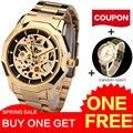 Ganador de la marca Relojes hombres esqueleto mecánico relojes de moda casual automática viento reloj de oro banda de acero reloj masculino