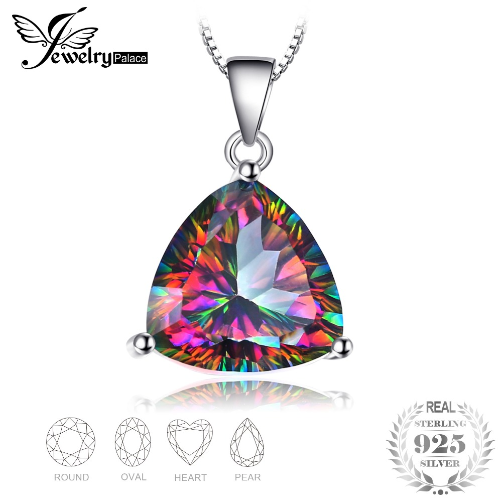 JewelryPalace Natural Rainbow Fire Mystic Topaz Classic Solitaire Pendant Solid 925 Sterling Silver Fine Jewelry Without a Chain jewelrypalace 28ct natural fire rainbow mystic topaz bracelet tennis for women gift love pure 925 sterling silver fine jewelry