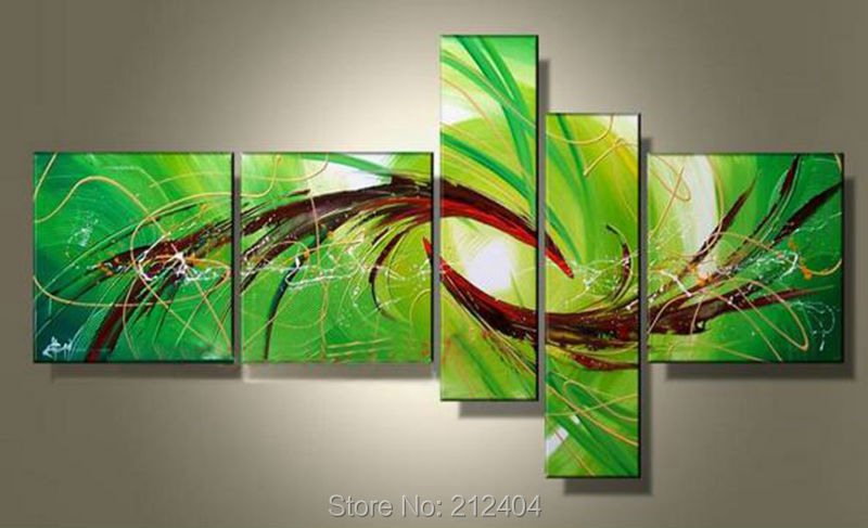 5 Panels Large Irregular Wall Panels Multi Piece Canvas Art Set Hand  Painted Abstract Oil Painting