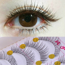 Free Shipping New 10 Pairs Handmade Fake False Eyelash Natural Look Transparent Stem make up