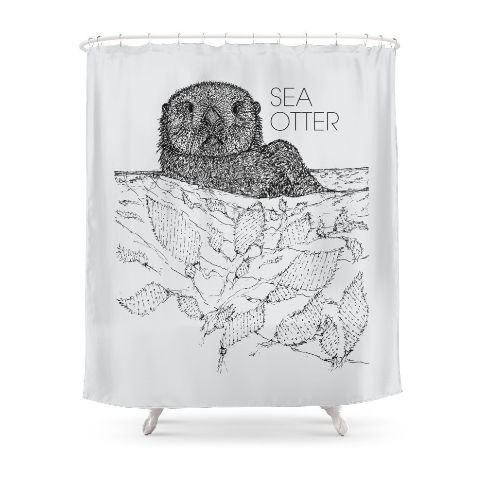 Sea Otter Sketch Shower Curtain Customized Size