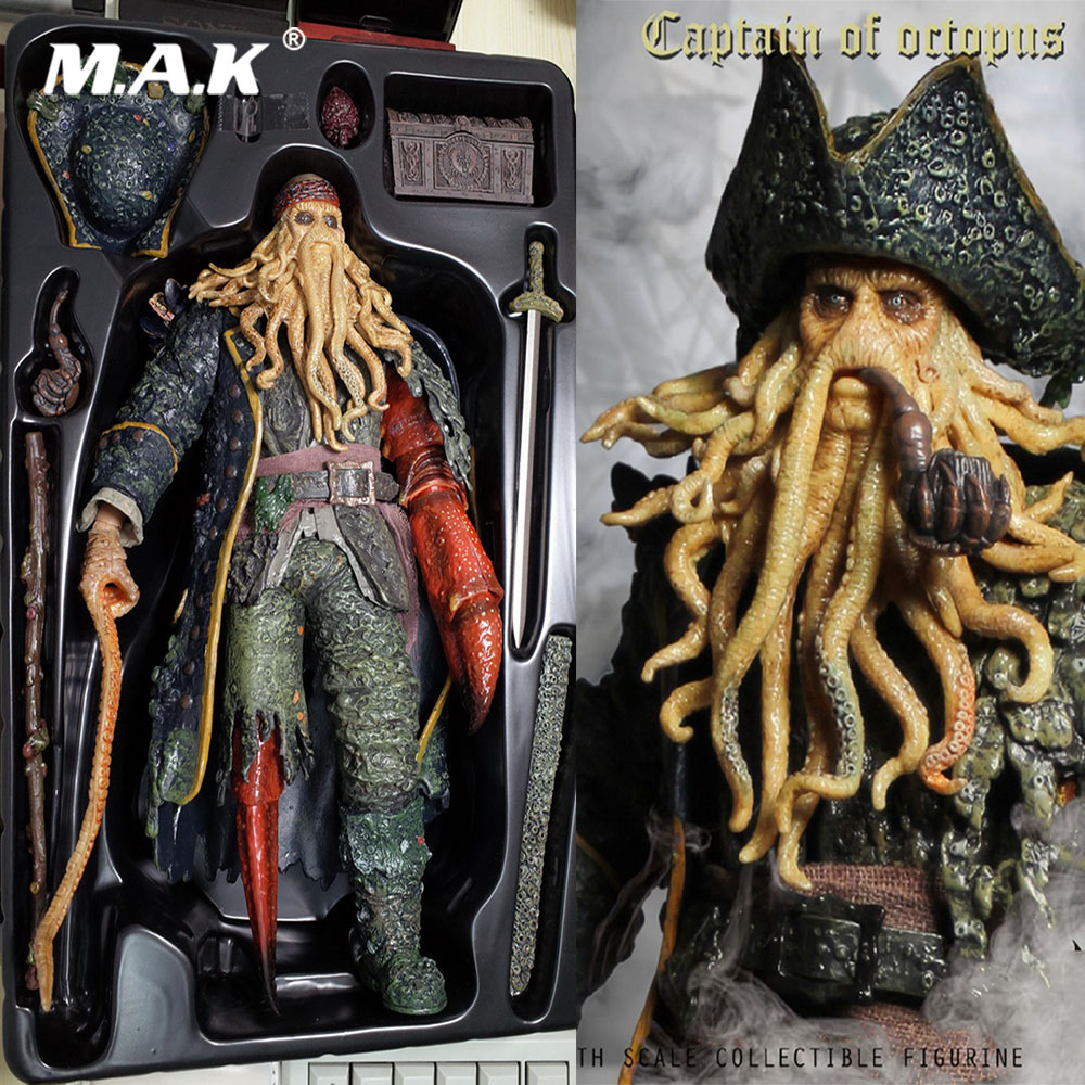 Collectible Full Set Action Figure 1/6 Scale Pirates of the Caribbean Captain of Octopus Davy Jones Model Toys for Fans Gift 1 6 collectible full set elder predator action figure avp ht mms325 hot toys doll model gift box set specification for fans gift