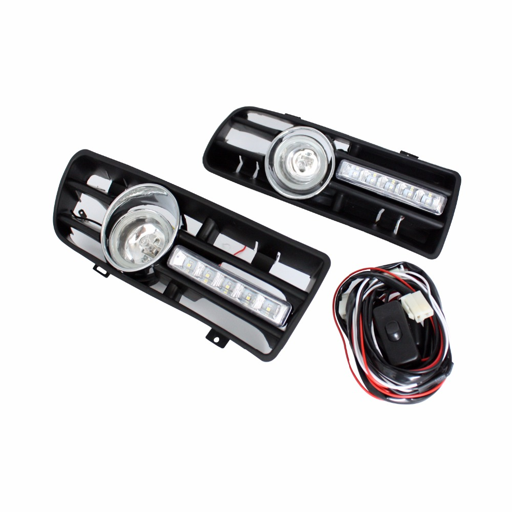 Auto LED Car Bumper Grille DRL Daytime Running Light Driving Fog Lamp Source Bulb For VW Volkswagen GOLF MK4 1997-2006 2pcs front bumper fog lamp grille led convex lens fog light angel eyes for vw polo 2001 2002 2003 2004 2005 drl car accessory p364