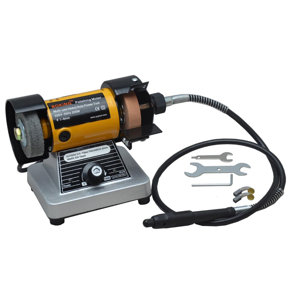 GOXAWEE Stone Mini Polishing Machine Grinding Machine Electric Bench Grinder with Polishing wheels and Flex Shaft Grinder Tools