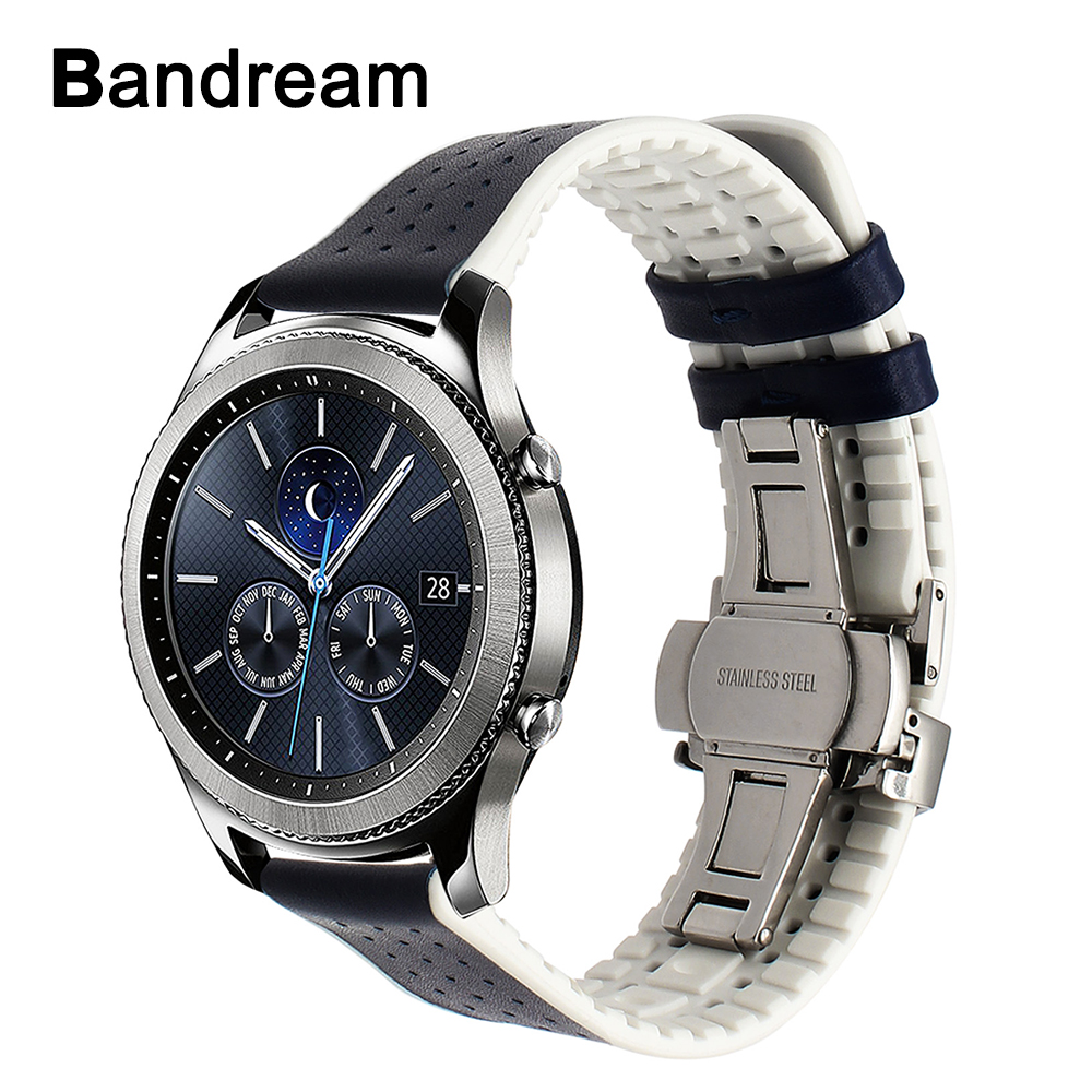 Italy Genuine Leather Watchband for Samsung Gear S3 Classic Frontier Silicone R760 R770 Rubber Watch Band Butterfly Buckle Strap crested silicone strap for samsung gear s3 frontier rubber smart watch wristband