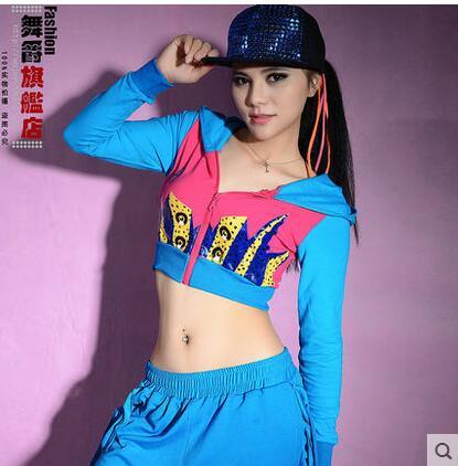 best sneakers ede11 3bd07 US $14.99 |New Fashion hip hop donne top danza cappotti donna Jazz usura di  prestazione del costume sexy vestiti della fase azzurre corte capispalla ...