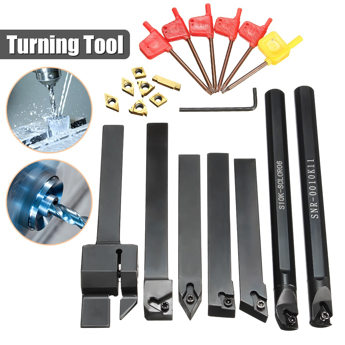 7pcs 10mm Boring Bar Lathe Turning Tool Holder with Gold Inserts with 7pcs T8 Wrenches ser1616h16 holder external thread turning tool boring bar holder with 10pcs 16er ag60 inserts