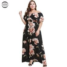 2019 New Spring Big Size Women Dresses Sexy Slash Neck Floral Print Ruffle Dress Casual Short Sleeve Black 4XL Plus