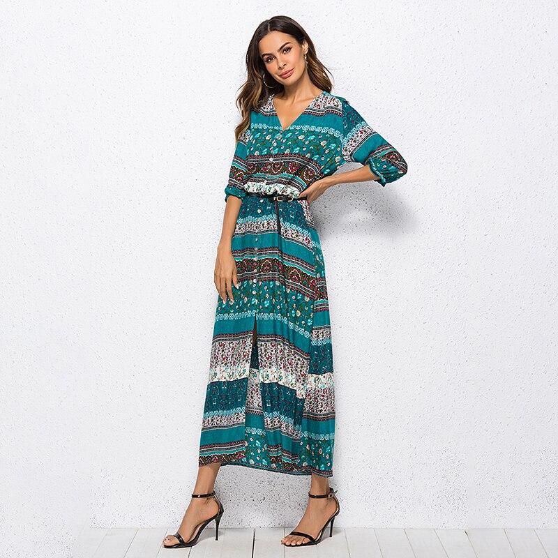 479b09f7b Bohemia impresión vestido largo mujer Maxi vestido largo estampado Floral  Retro Hippie Vestidos ...