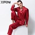 XIFENNI Cetim Pijamas de Seda Masculino Longo-Luva do Bordado Conjuntos de Homens de Pijama de Seda Emulação Sleepwear Turn-Down Collar Dois-parte 3315