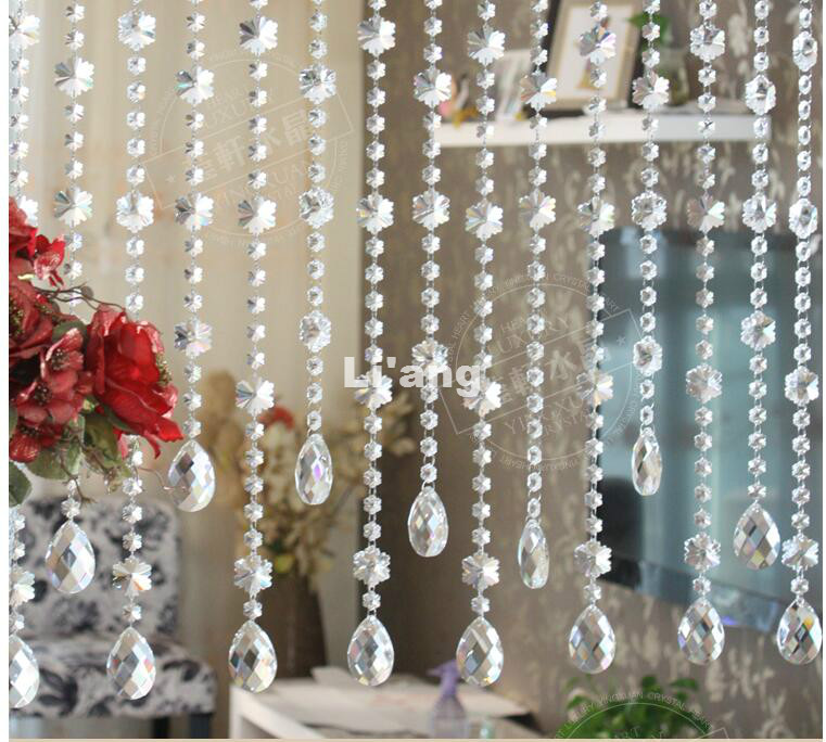 Free Shipping 1M Crystal Beads Chain 10pieces/lot CRYSTAL Beads Home/WINDOW/DOOR <font><b>CURTAIN</b></font> Decoration,Lighting Accessories Parts