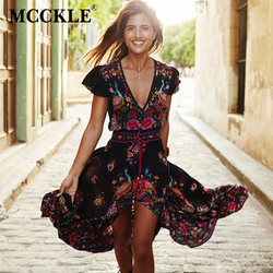 Mcckle 2017 women summer v neck vintage boho long maxi floral national chiffon dress party beach.jpg 250x250