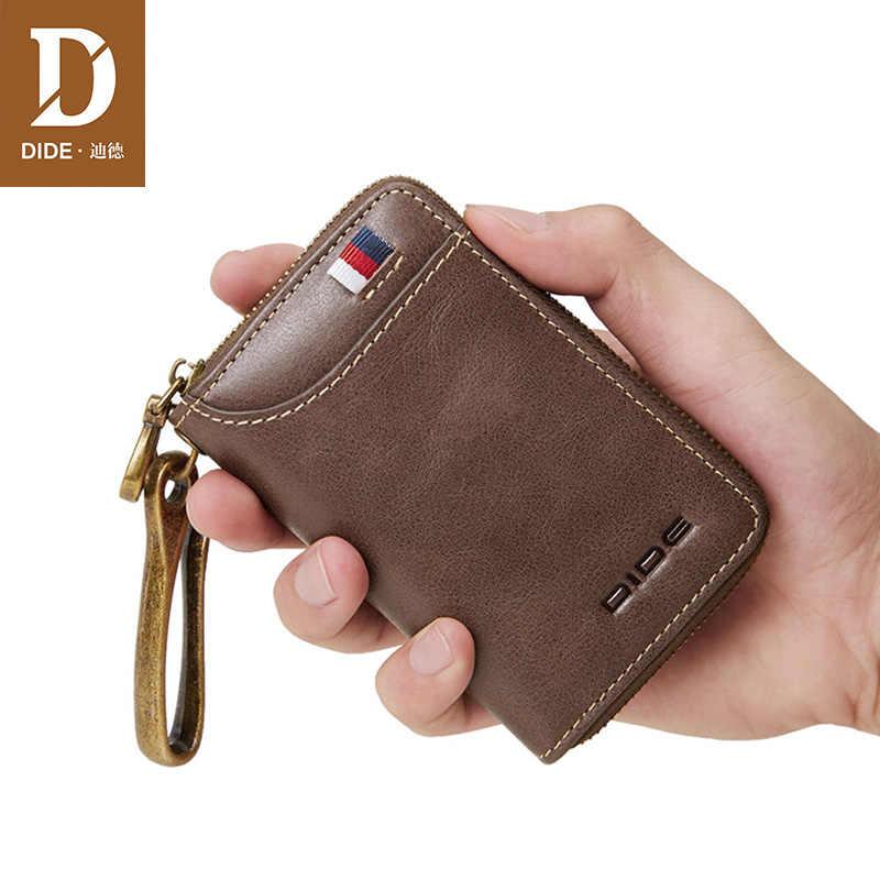 DIDE moda Cartera de cuero genuino para llave de coche Cartera de hombre tarjetero de marca Mini monedero con cremallera pequeña billetera para mujer llaves organizadoras caso