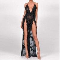 2018 New Elegant Lace Women Maxi Long Dress Deep V Neck Sexy Evening Party Dress Nightclub Sequin Dresses Robe Femme Vestidos
