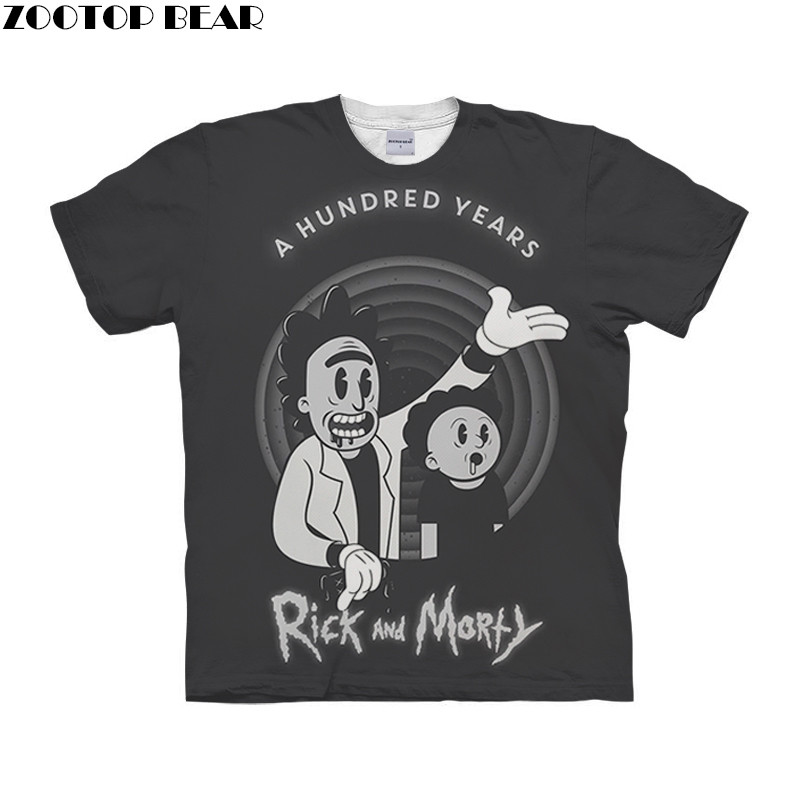 Gray Men T Shirt Quick Dry Male Shirts 2019 Anime rick and morty 3D Printed  Fitness Mens Tee Breathable Casual Style ZOOTOPBEAR