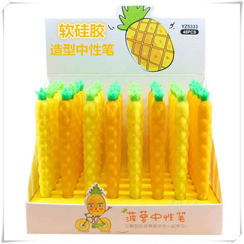 48 pcs Gel Pens The silicone pineapple black colored kawaii gift gel-ink pens for writing Cute stationery office school supplies