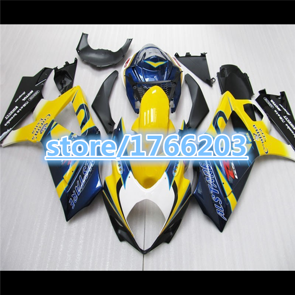 Bo Painted Fairing <font><b>kit</b></font> for 07 08 Fullset A <font><b>GSXR1000</b></font> K7 07 08 Fullset <font><b>GSXR1000</b></font> <font><b>K8</b></font> 2007 2008 fairing <font><b>kit</b></font> yellow blue white black image