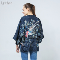 Harajuku Summer Women Japanese Kimono Phoenix Printed Bat Sleeve Loose Cardigan Sun Protection Blouse