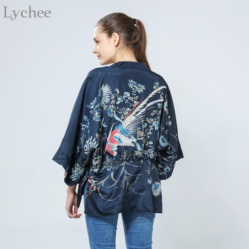 Lychee Harajuku Summer Women Japanese Kimono Phoenix Printed Bat Sleeve Loose Cardigan Sun Protection Blouse