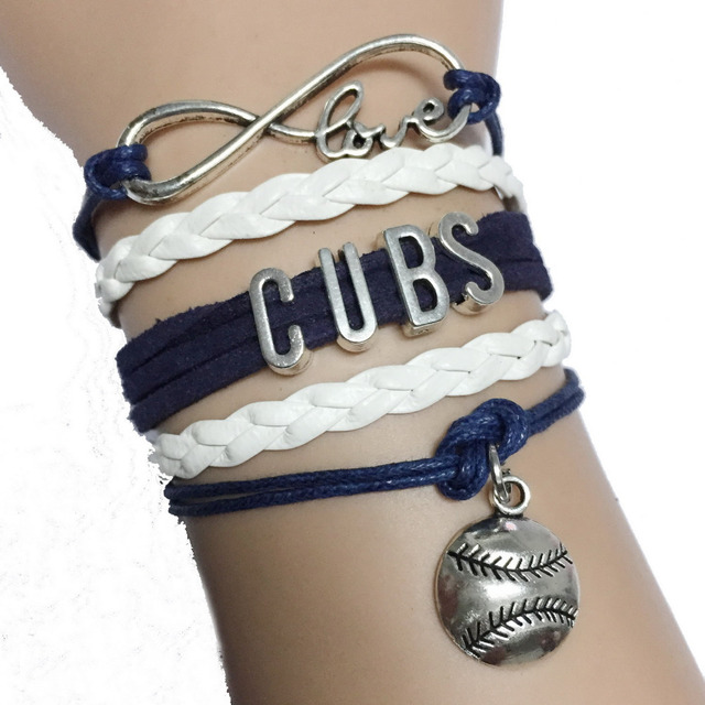 Dark Blue With White Braid Leather Infinity Love Cubs Softball Bracelet Sports Baseball Team Gift
