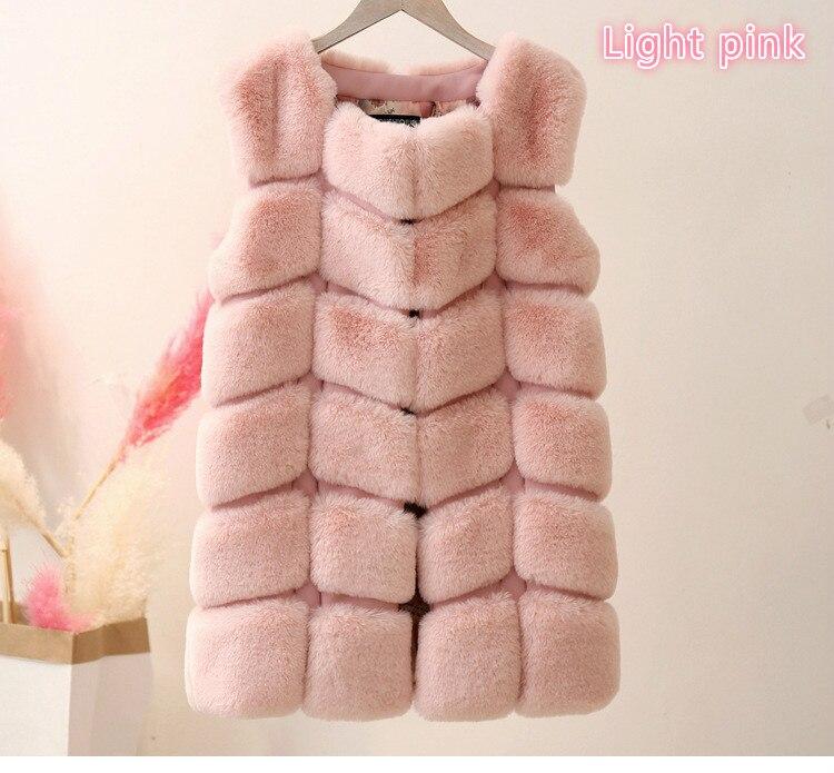 Высококачественная меховая жилетка, роскошное пальто из искусственного лисьего меха, теплое Женское пальто, жилетки, Зимняя мода, меховые женские пальто, куртка, жилетка, жилет, 4XL - Цвет: light pink